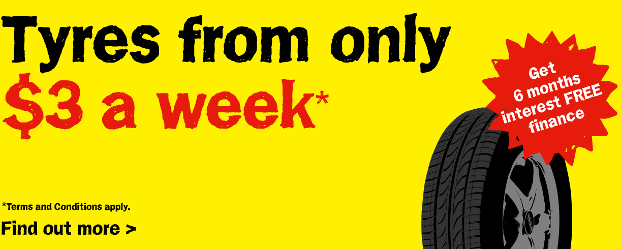 Tyres from only $3 a week