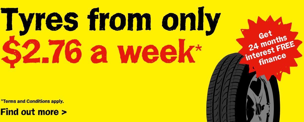 Tyres from only $2.76 a week